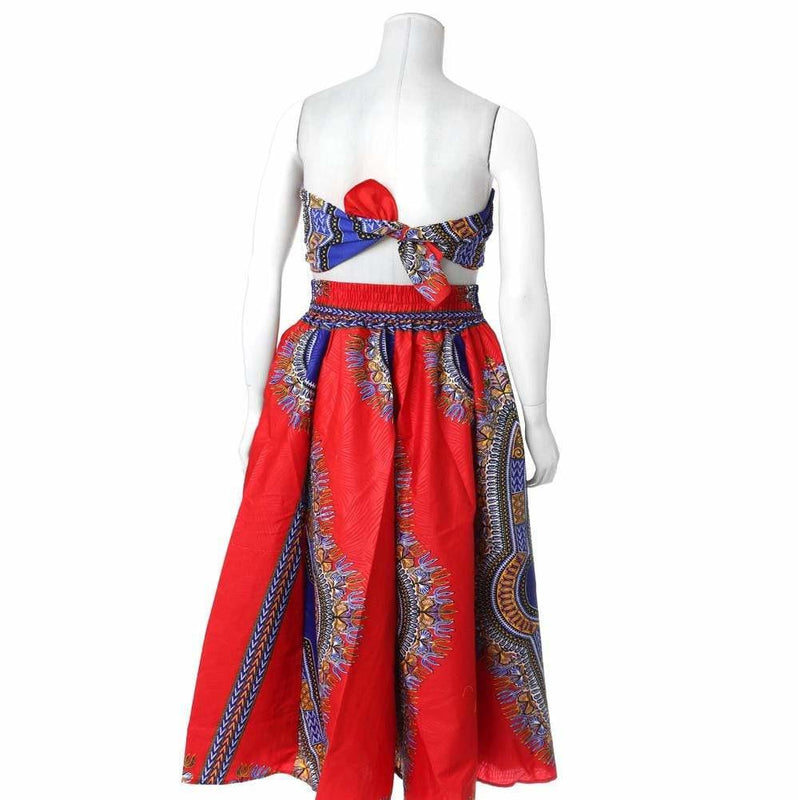 Plus Size Printed Wax Maxi Skirt, Red