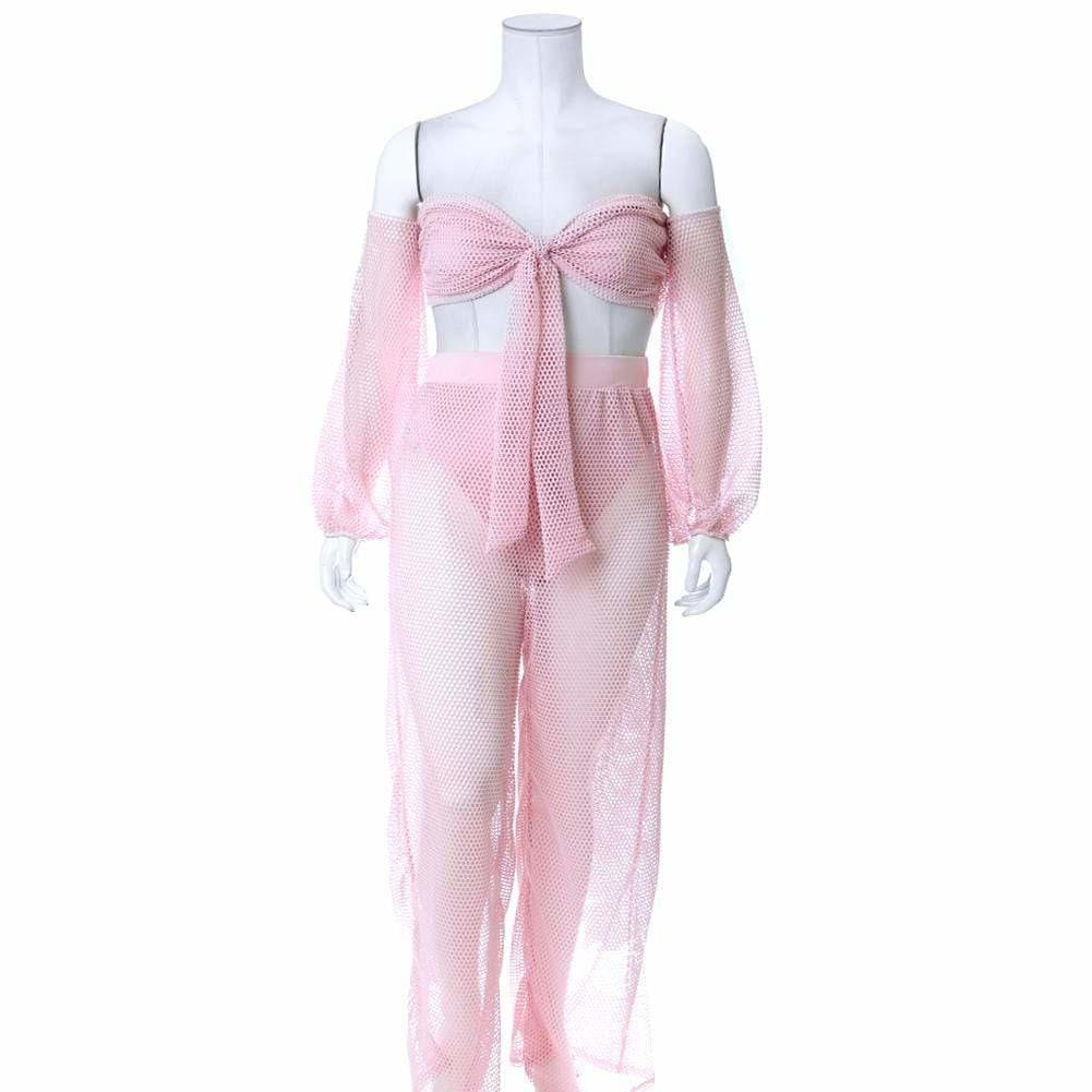 Posh Shoppe: Plus Size Fish Net Top and Pants Set, Baby Pink Bottoms