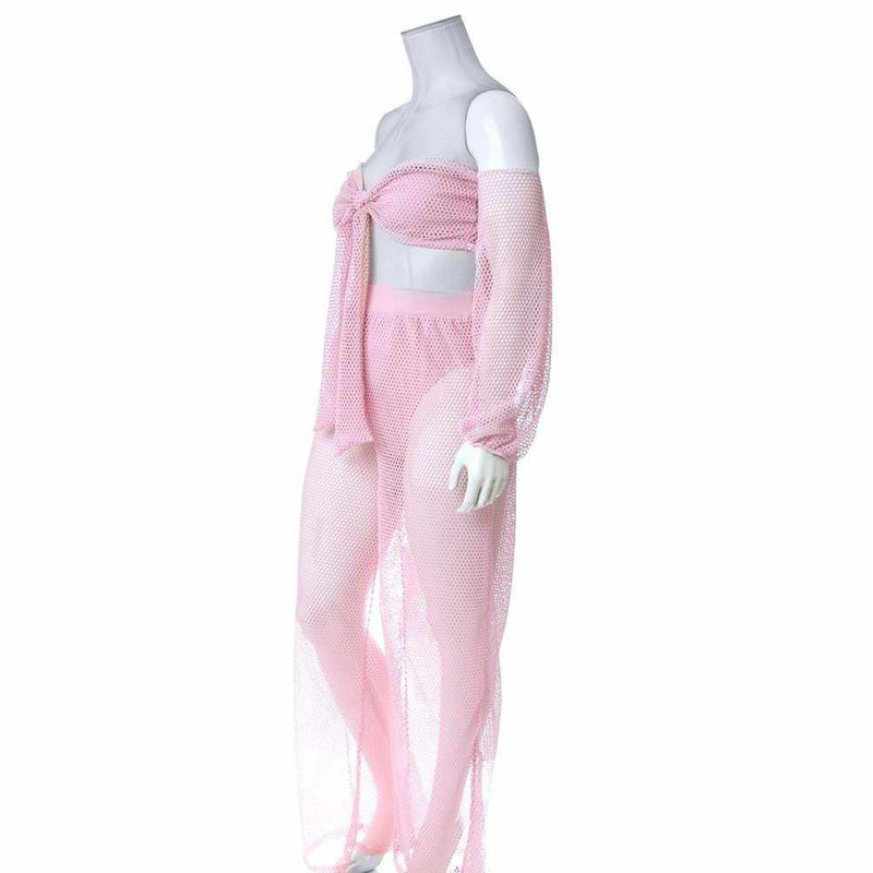 Plus Size Fish Net Top and Pants Set, Baby Pink