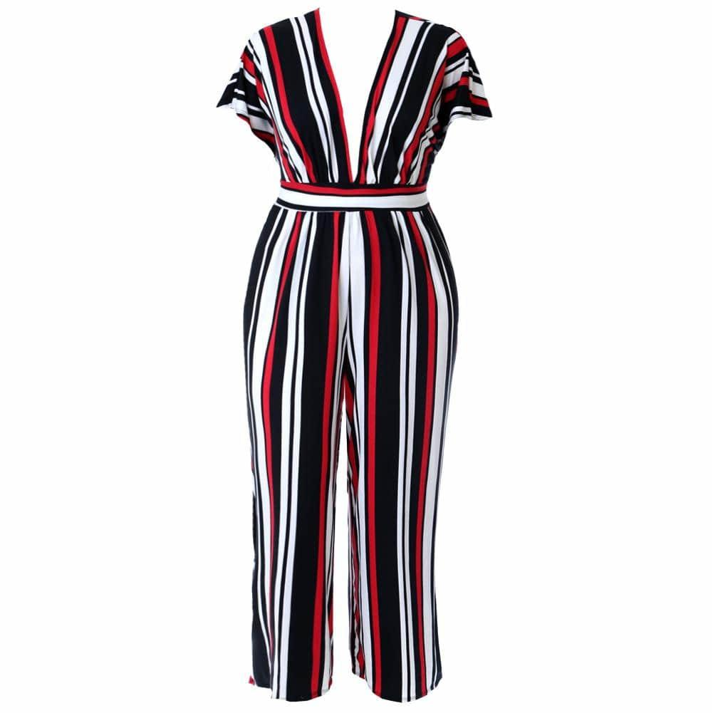 Posh Shoppe: Plus Size Tunic Top Wide Leg Striped Jumpsuit, Black Bottoms