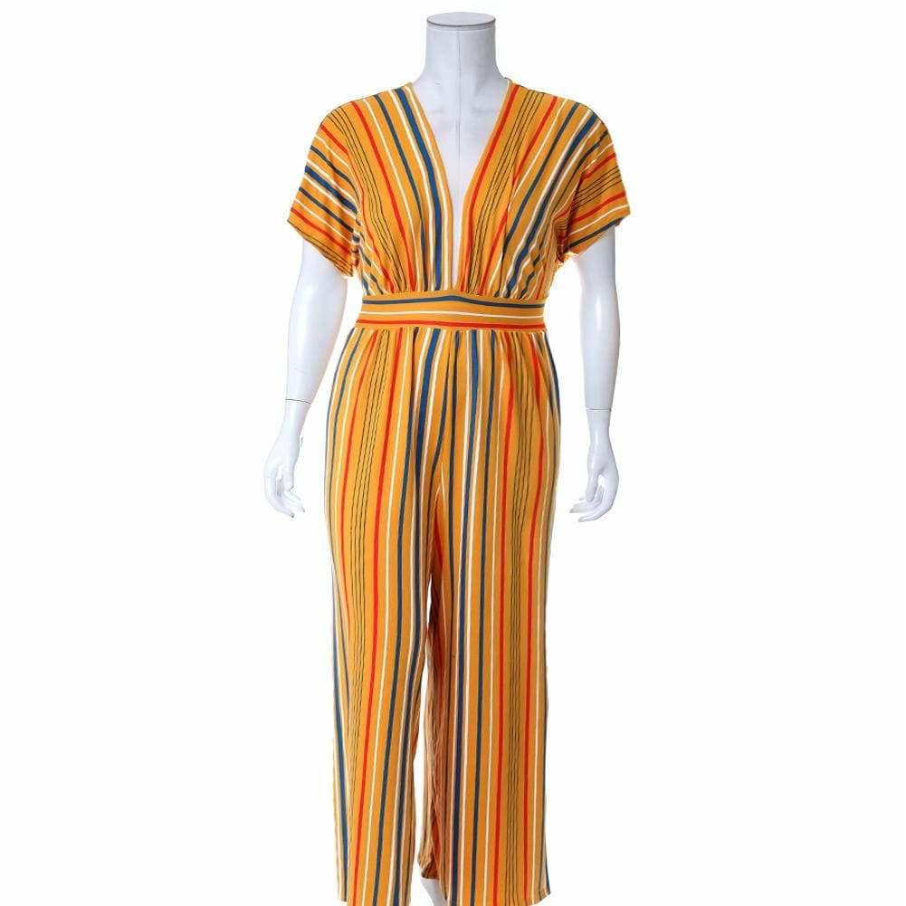 Posh Shoppe: Plus Size Tunic Top Wide Leg Striped Jumpsuit, Mustard Bottoms