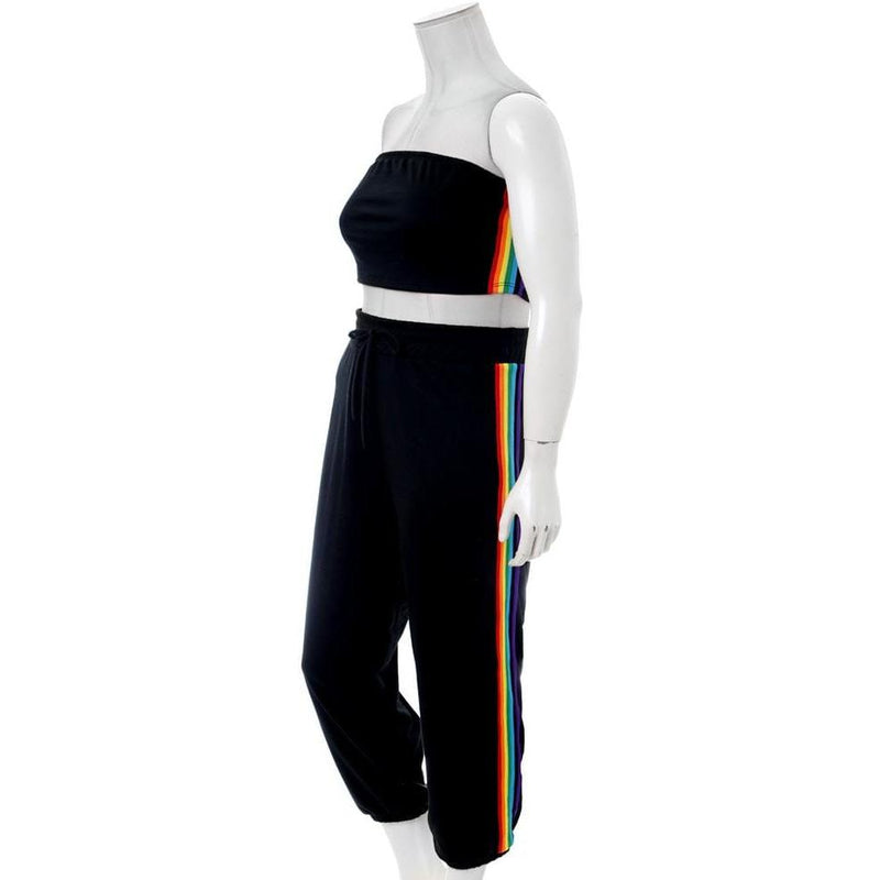 Plus Size Rainbow Trim Terry Top and Jogger Set, Black