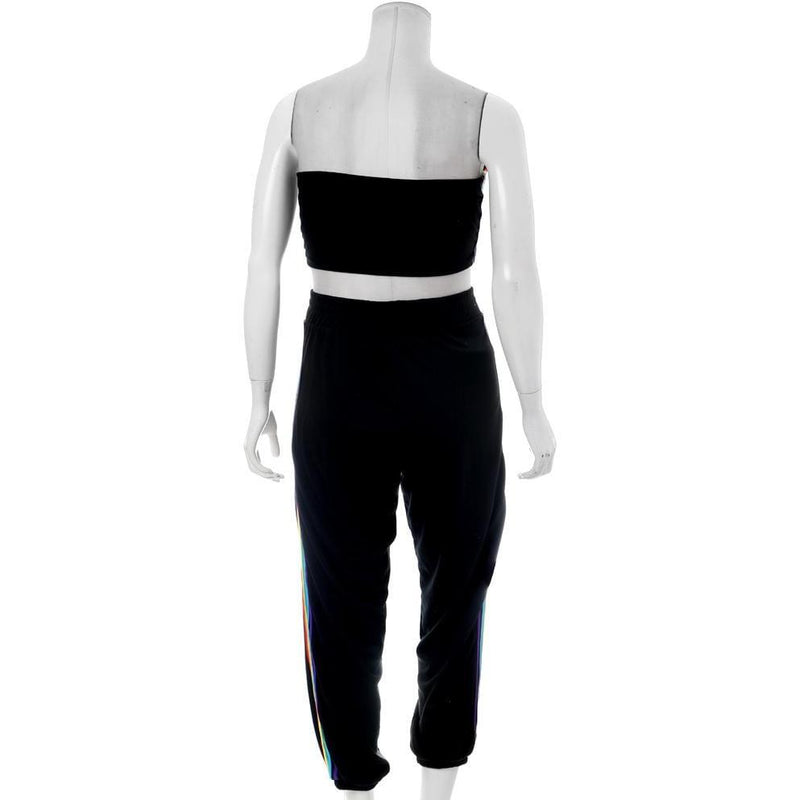 Posh Shoppe: Plus Size Rainbow Trim Terry Top and Jogger Set, Black Bottoms