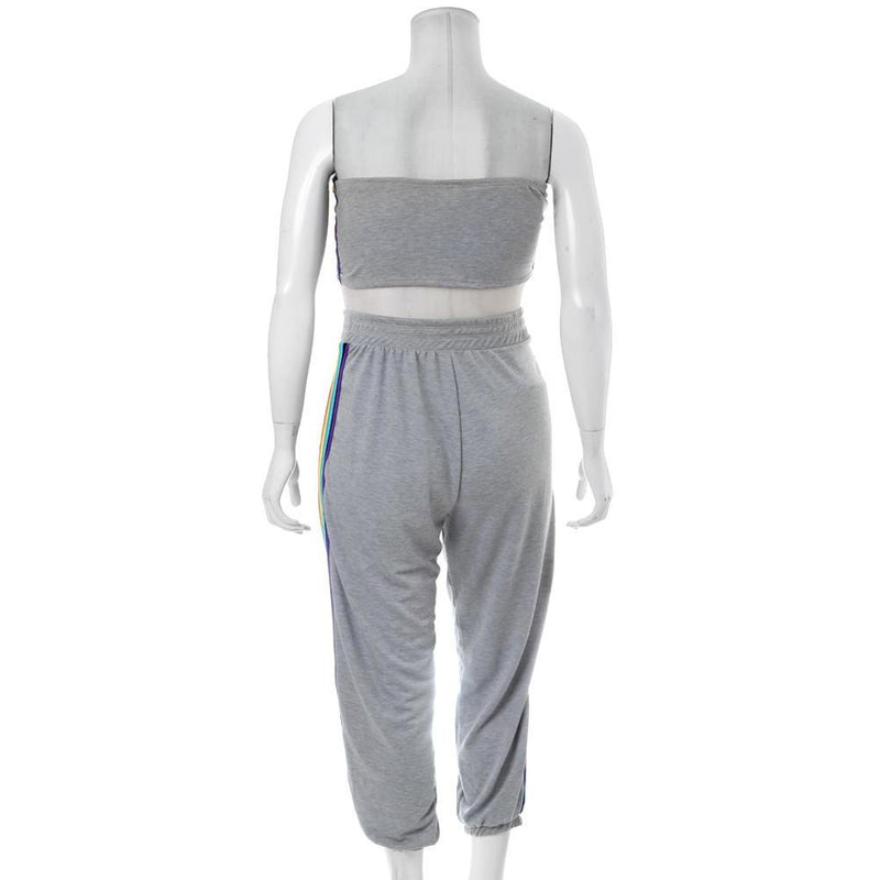 Posh Shoppe: Plus Size Rainbow Trim Terry Top and Jogger Set, Gray Bottoms