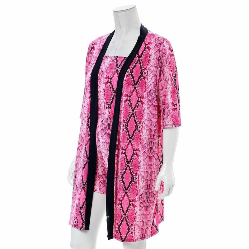 Plus Size Romper and Duster Set, Pink Snake Print