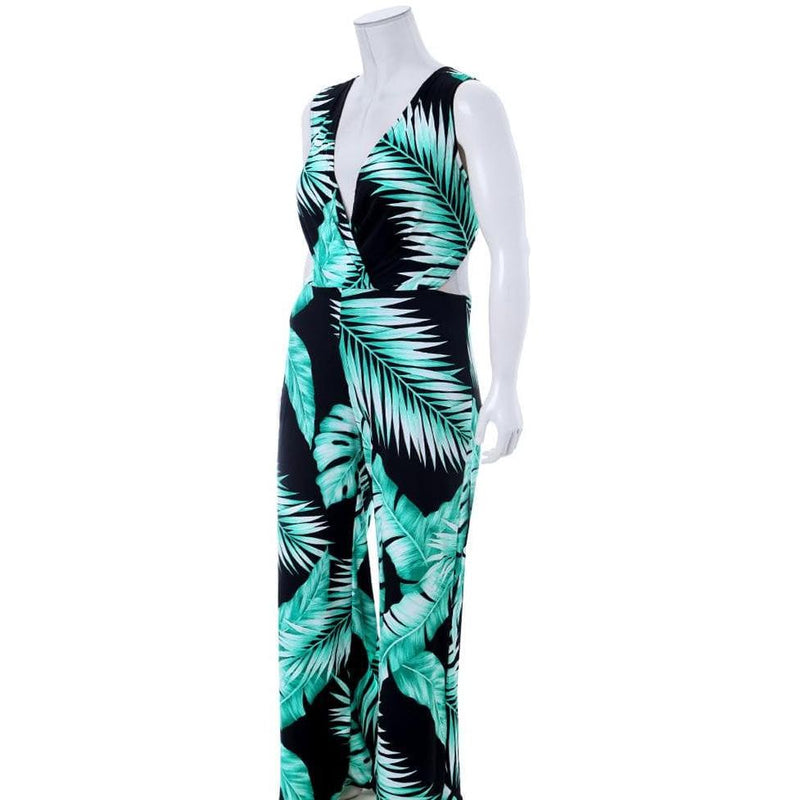 Posh Shoppe: Plus Size Knot Back Tropic Print Jumpsuit Bottoms