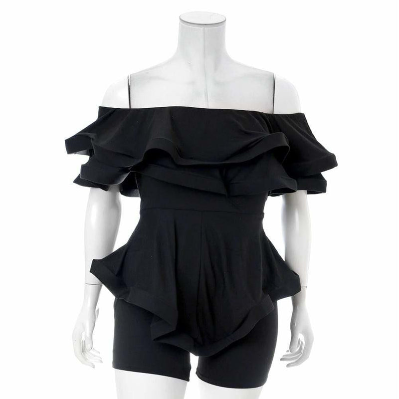 Plus Size Ruffled Strapless Romper