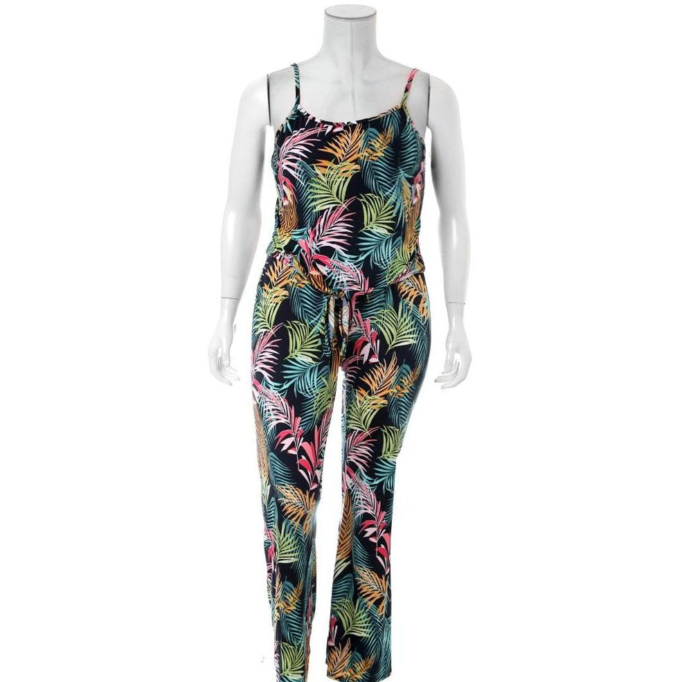 Posh Shoppe: Plus Size Printed Cami and Pants Coordinated Set, Palms Print Bottoms