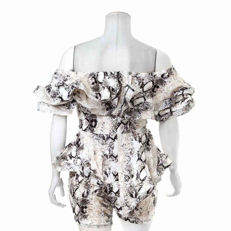 Posh Shoppe: Plus Size Snake Print Ruffled Strapless Romper Bottoms