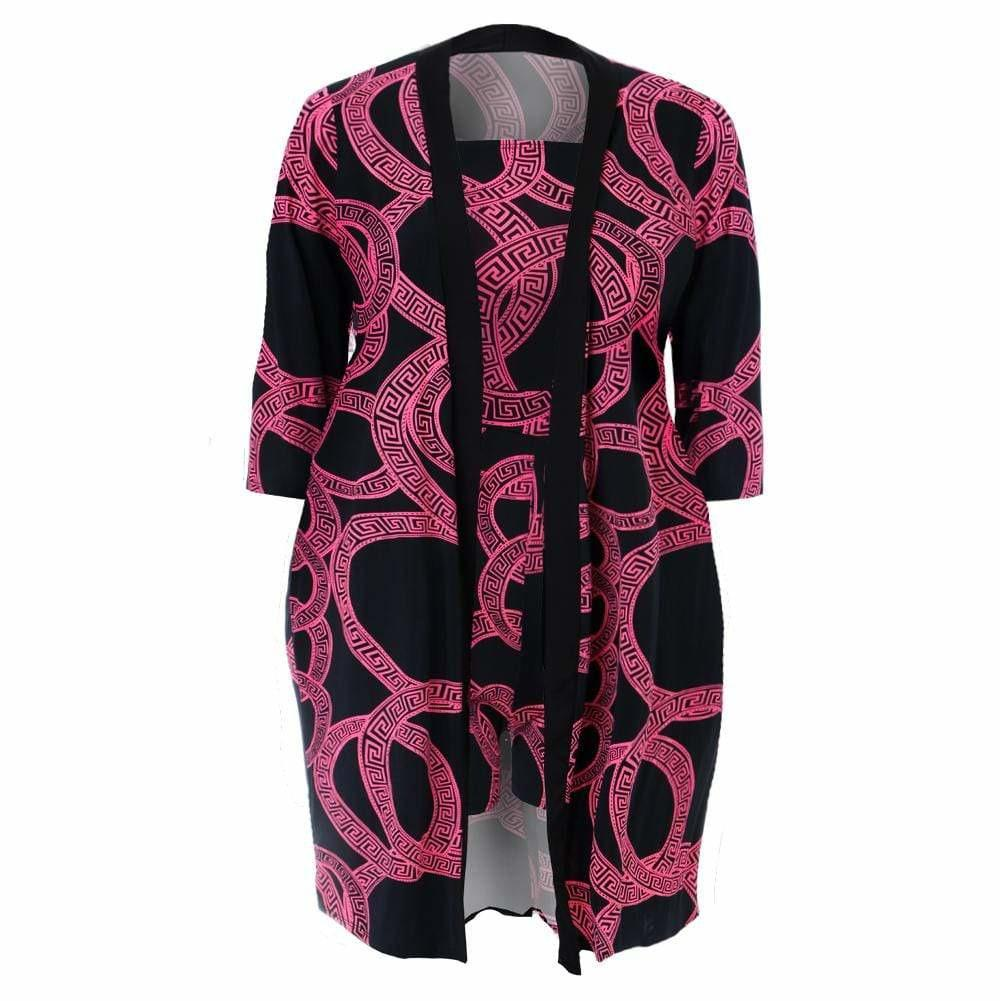 Plus Size Romper and Duster Set, Black and Pink Medallion Print