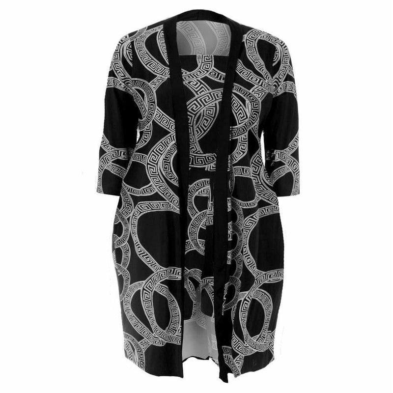 Posh Shoppe: Plus Size Romper and Duster Set, Black and White Medallion Print Bottoms