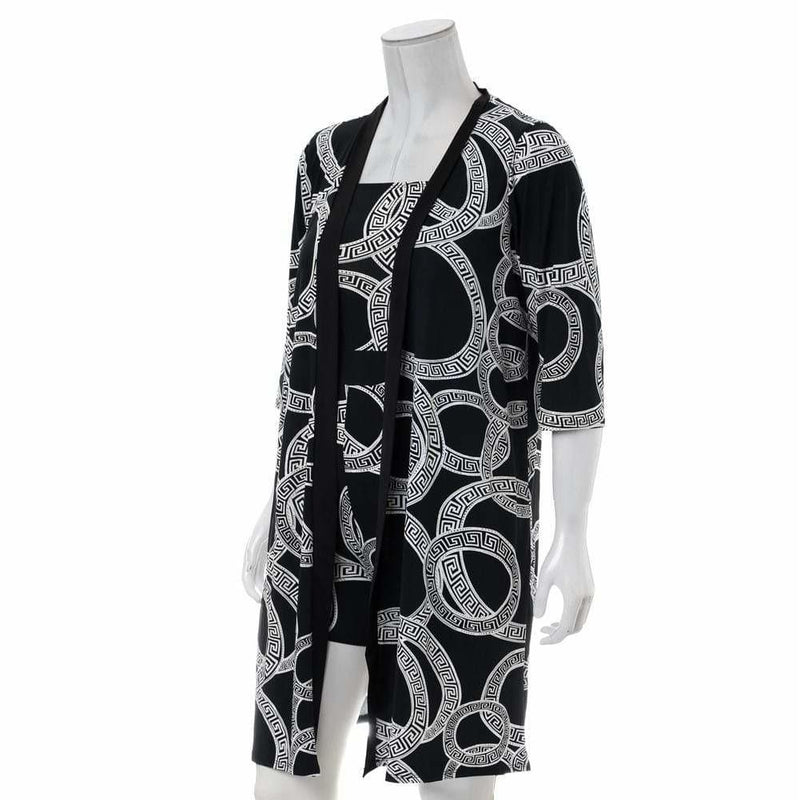 Plus Size Romper and Duster Set, Black and White Medallion Print