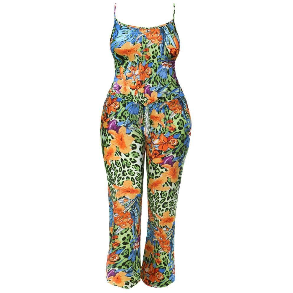 Posh Shoppe: Plus Size Printed Cami and Pants Coordinated Set, Jungle Print Bottoms