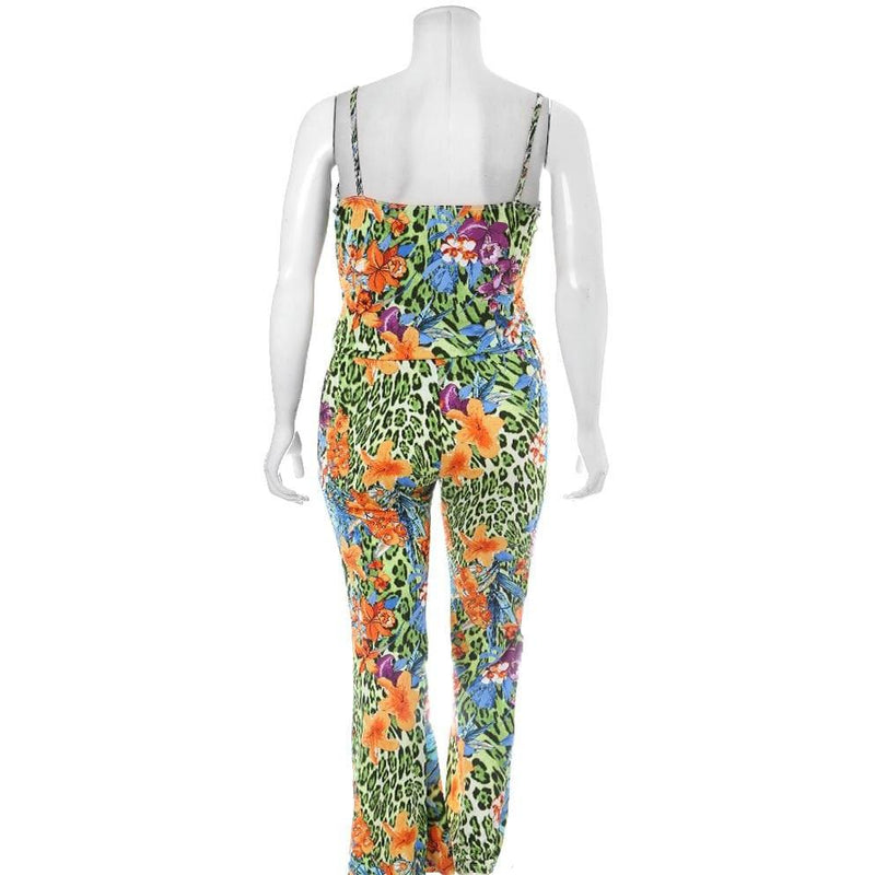 Plus Size Printed Cami and Pants Coordinated Set, Jungle Print