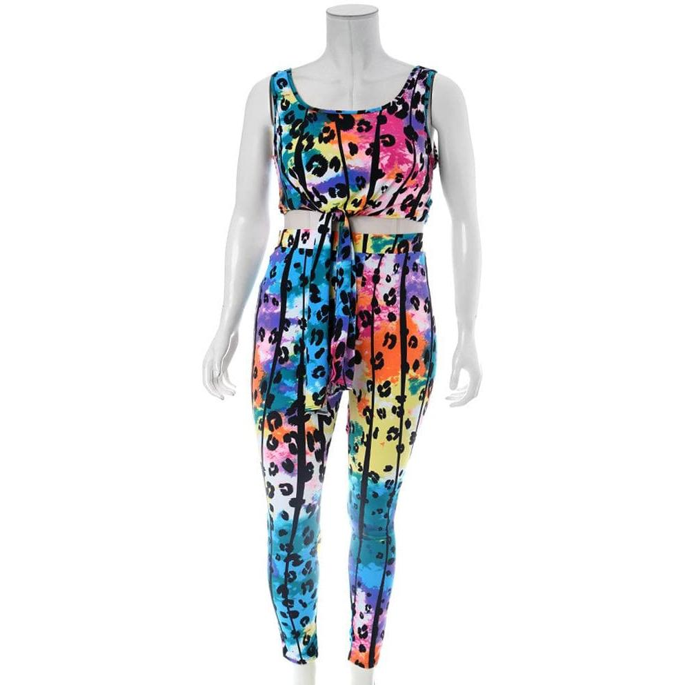 Posh Shoppe: Plus Size Printed Tank and Leggings Coordinated Set Bottoms