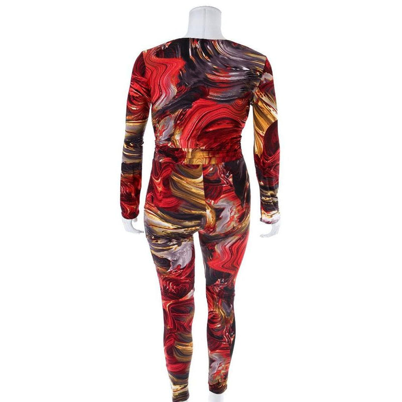 Plus Size Marbled Top and Leggings Coordinated Set