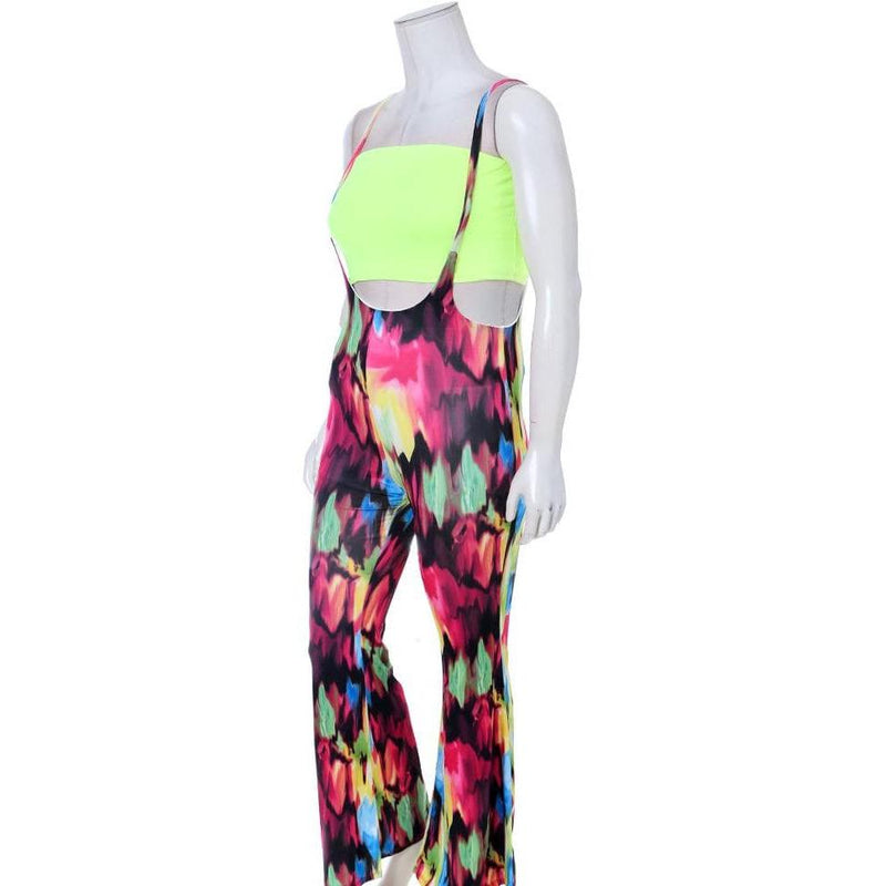 Posh Shoppe: Plus Size Flared Leg Scoop Overalls, Brushstrokes Print Bottoms