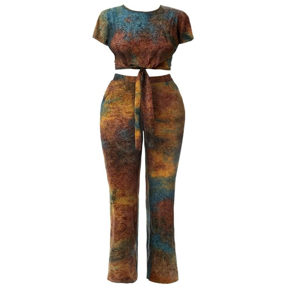 Posh Shoppe: Plus Size Tie Front Cropped Tee and Flared Pants Set, Tie Dye Bottoms