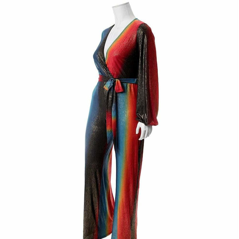 Plus Size Gold Lamé Jumpsuit, Teal and Orange
