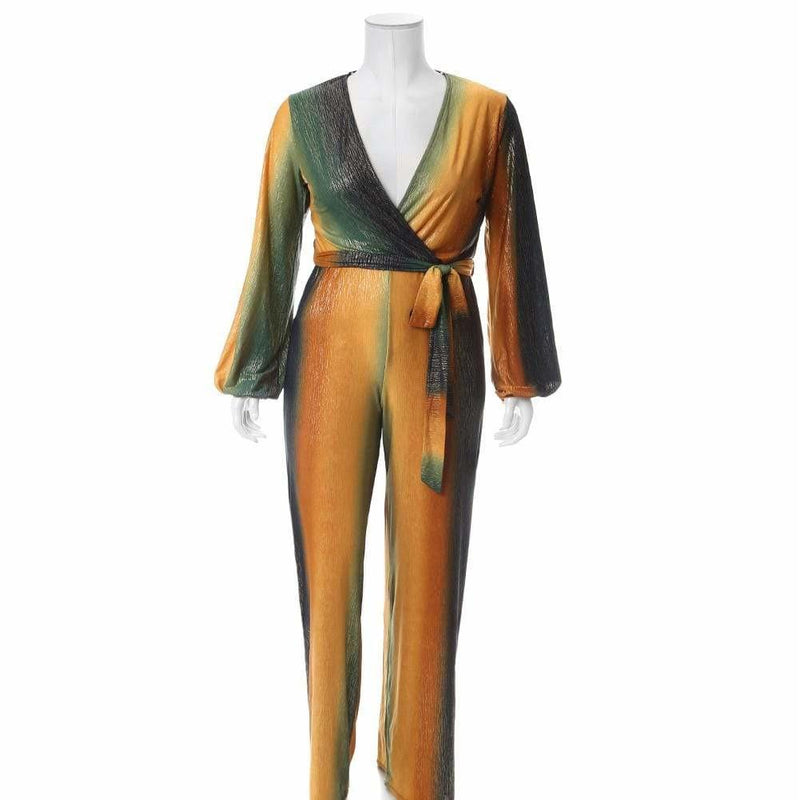 Plus Size Gold Lamé Jumpsuit, Green and Gold