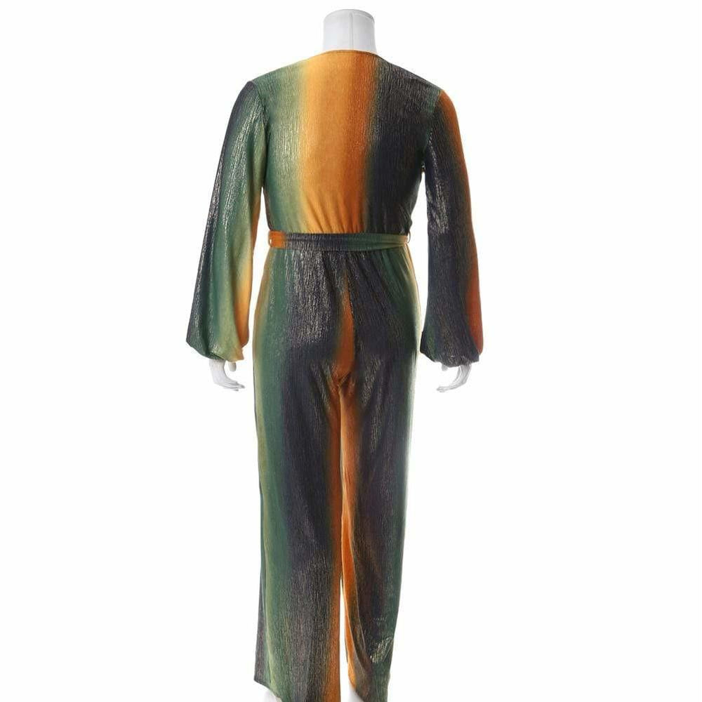 Posh Shoppe: Plus Size Gold Lamé Jumpsuit, Green and Gold Bottoms