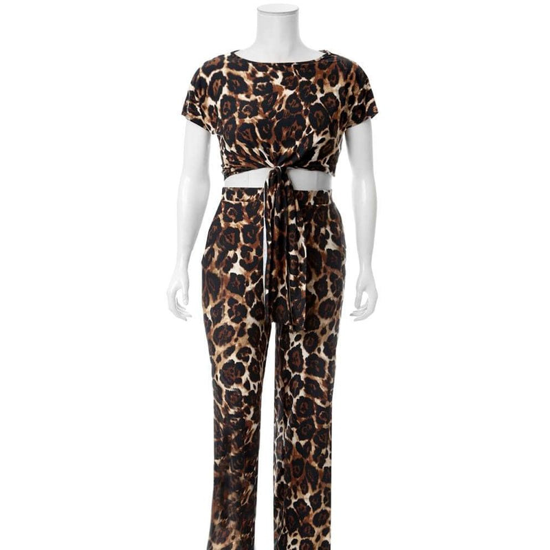 Posh Shoppe: Plus Size Tie Front Cropped Tee and Flared Pants Set, Animal Print Bottoms