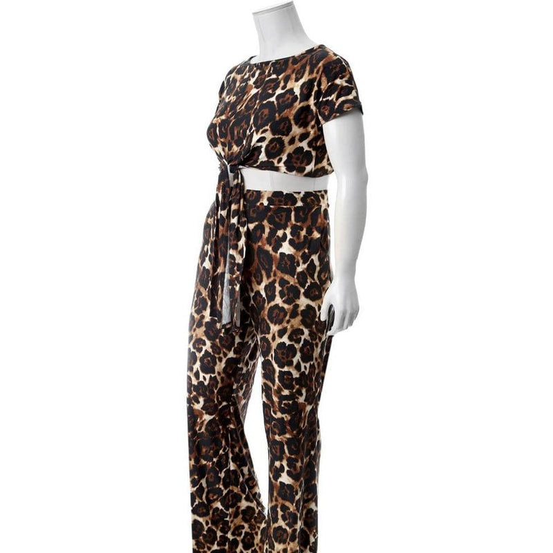 Plus Size Tie Front Cropped Tee and Flared Pants Set, Animal Print