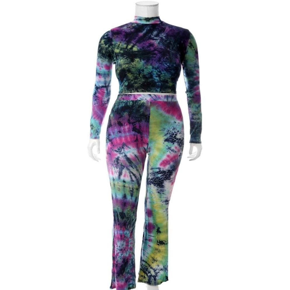 Posh Shoppe: Plus Size Tie Dye Mock Neck Top and Flared Pants Set Bottoms