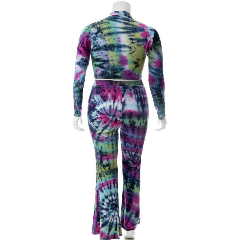 Plus Size Tie Dye Mock Neck Top and Flared Pants Set