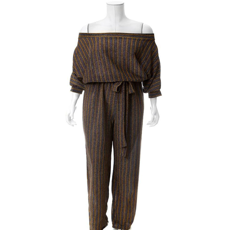 Plus Size Metallic Knit Striped Jumpsuit, Gold & Burgundy