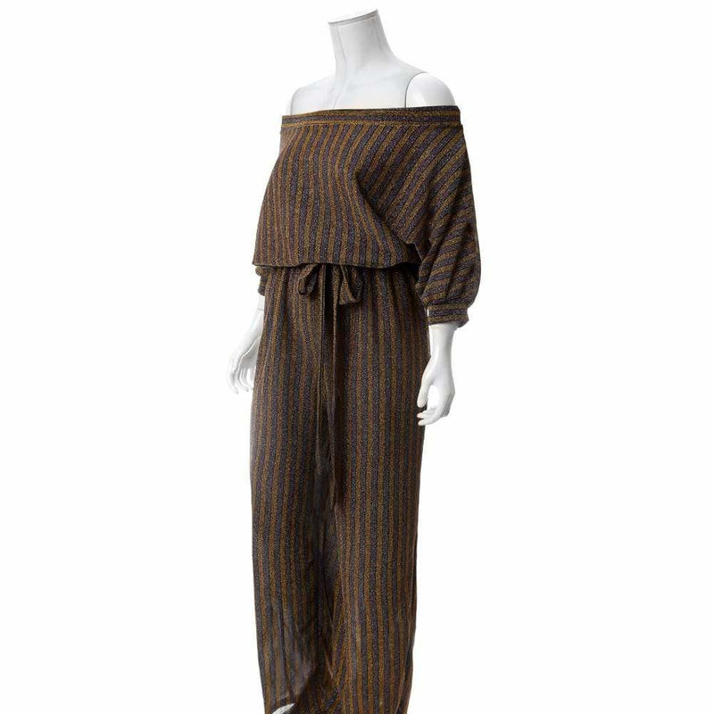Posh Shoppe: Plus Size Metallic Knit Striped Jumpsuit, Gold & Burgundy Bottoms