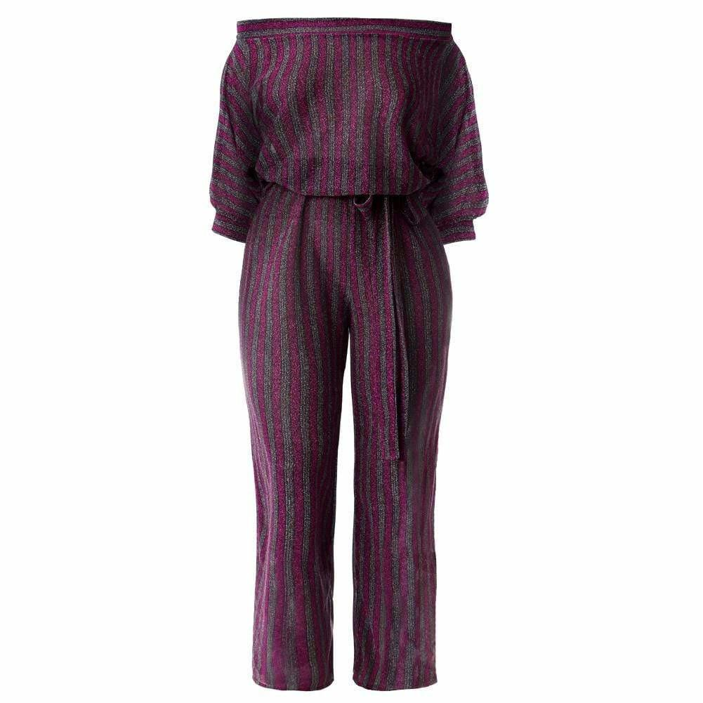 Plus Size Metallic Knit Striped Jumpsuit, Berry & Platinum