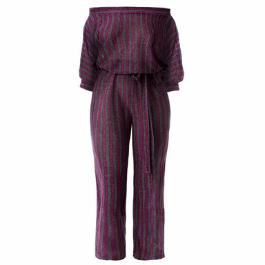 Posh Shoppe: Plus Size Metallic Knit Striped Jumpsuit, Berry & Platinum Bottoms