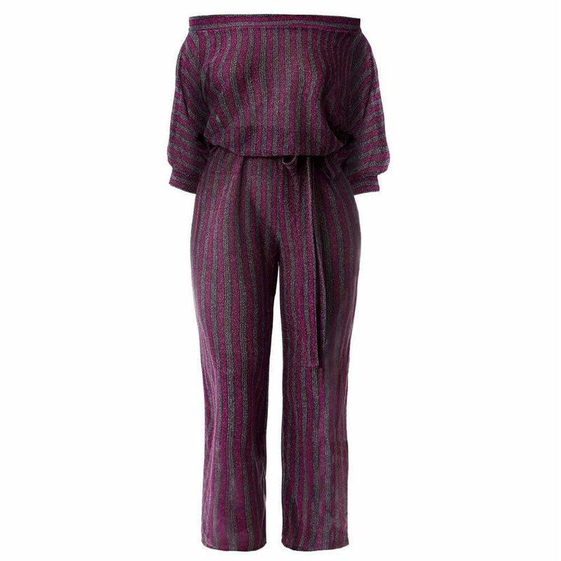 Plus Size Ribbed Snake Print Jumpsuit