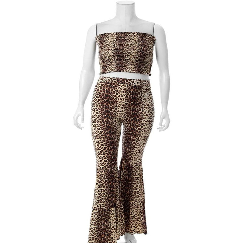Plus Size Smocked Top and Bell Bottoms Set, Animal Print