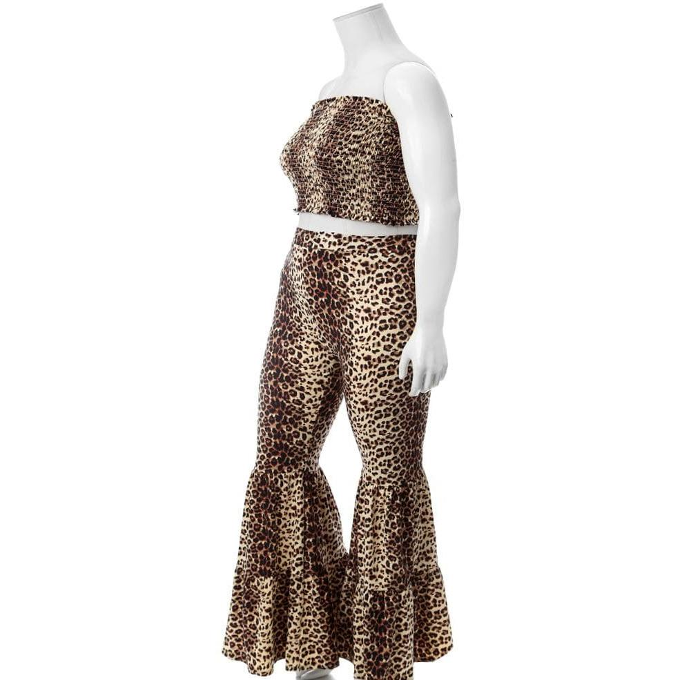 Posh Shoppe: Plus Size Smocked Top and Bell Bottoms Set, Animal Print Bottoms