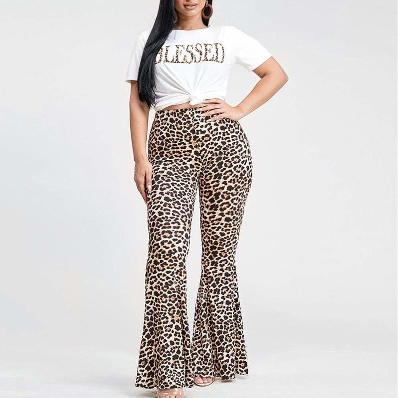 Plus Size Graphic Tee and Flared Pants Set, BLESSED Print