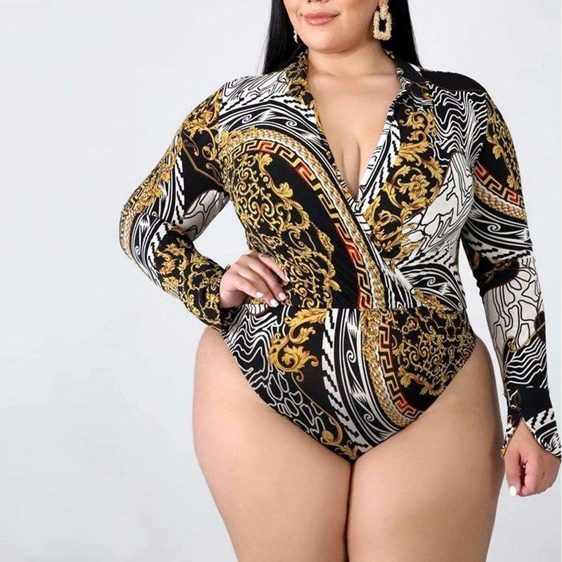 Plus Size Mix Print Body Suit and Leggings Coordinated Set