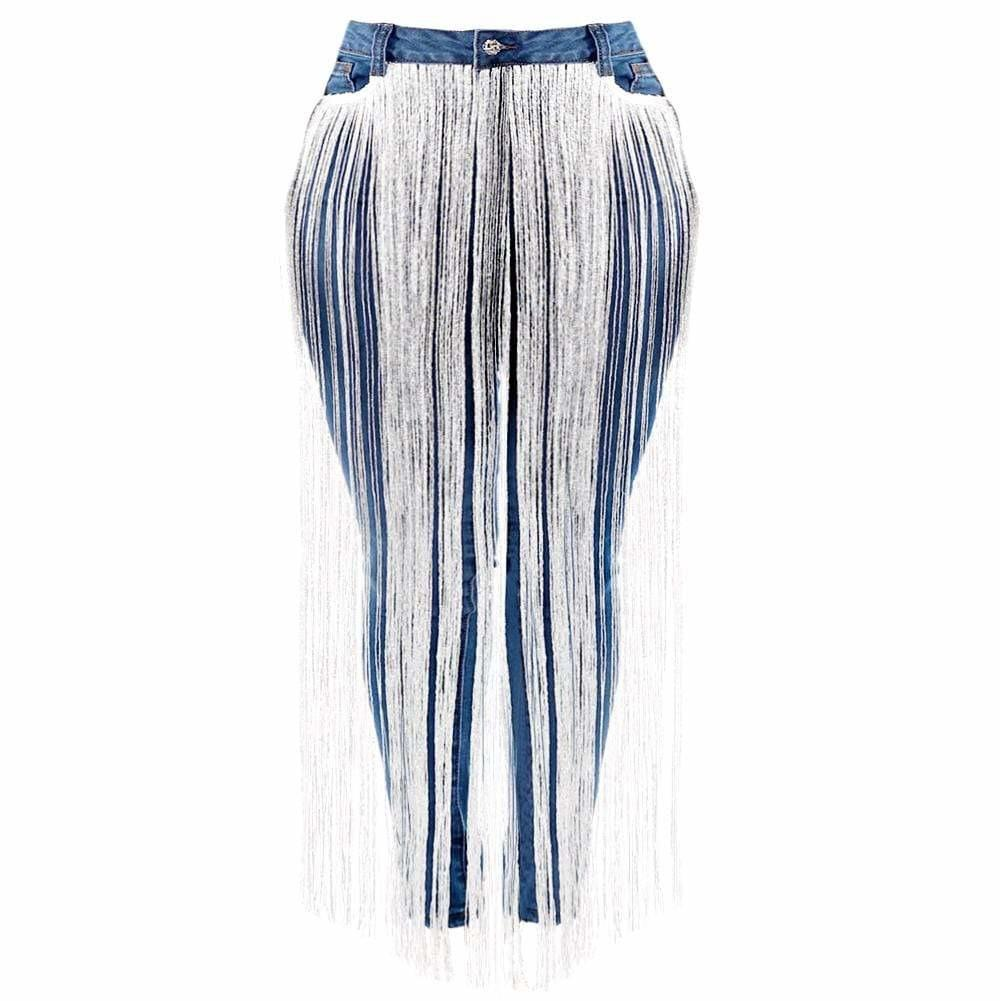Posh Shoppe: Plus Size Fringe Front Jeans Bottoms