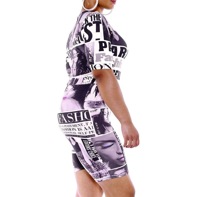 Posh Shoppe: Plus Size Biker Romper, Magazine Print Bottoms