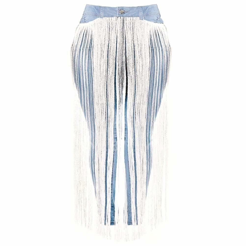 Plus Size Fringe Front Jeans, Light Wash