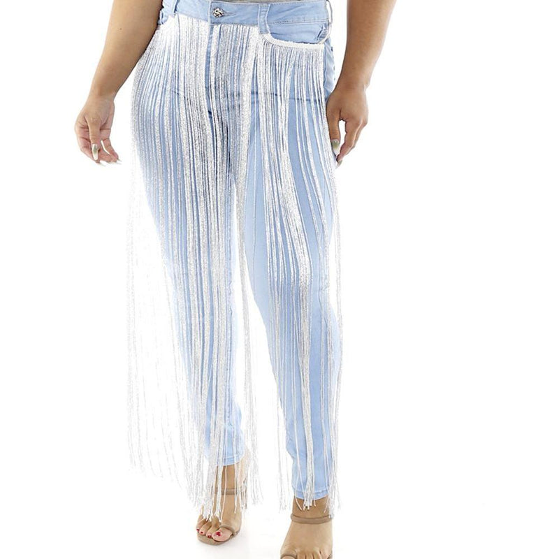Posh Shoppe: Plus Size Fringe Front Jeans, Light Wash Bottoms