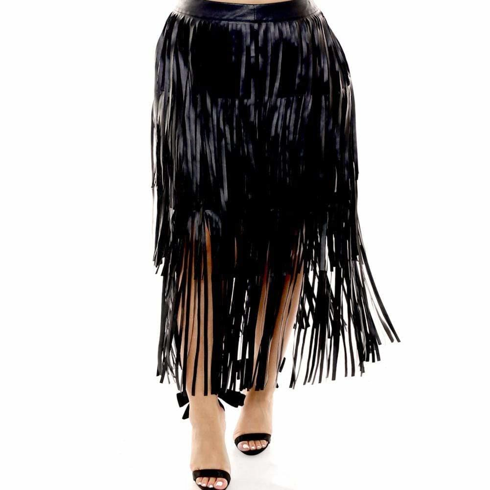 Plus Size Vegan Leather Fringe Skirt