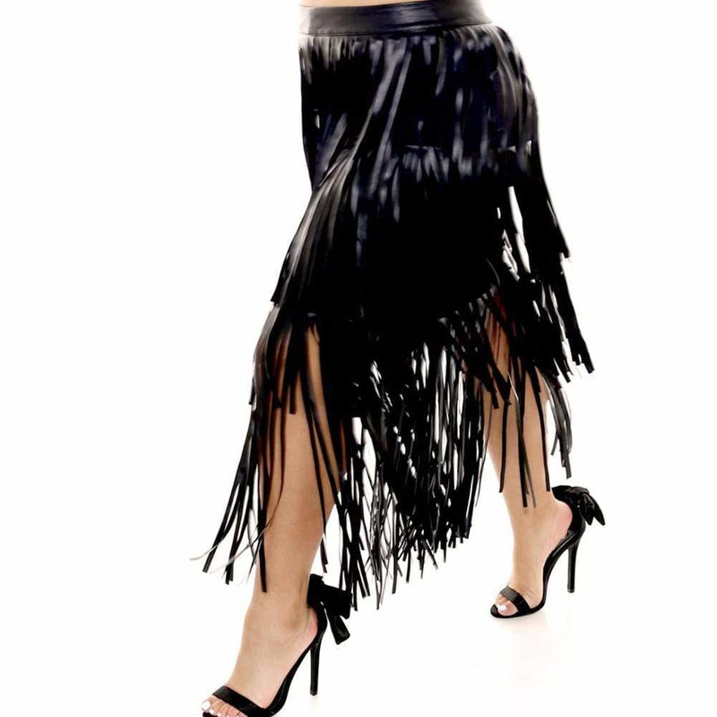 Posh Shoppe: Plus Size Vegan Leather Fringe Skirt Bottoms