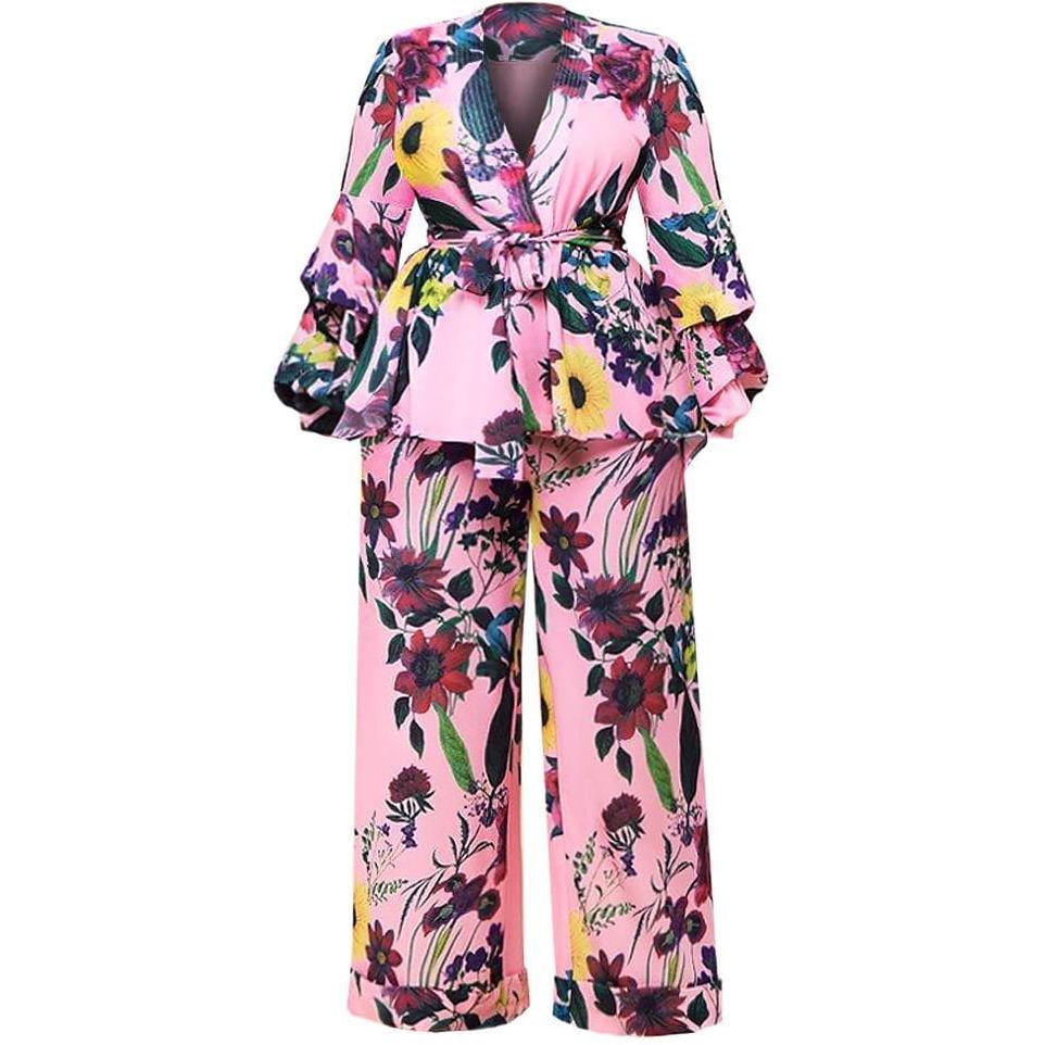 Posh Shoppe: Plus Size Kimono Jacket and Wide Leg Pants Suit Set Bottoms