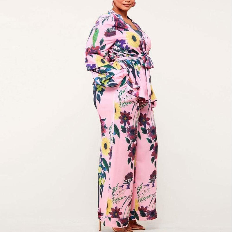 Plus Size Kimono Jacket and Wide Leg Pants Suit Set