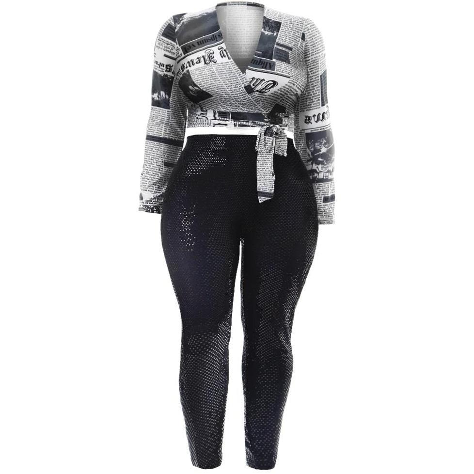 Plus Size Wrap Top and Leggings Set