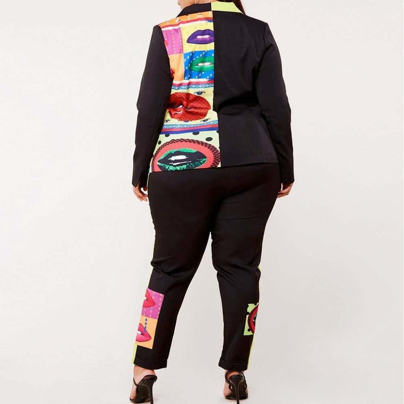 Posh Shoppe: Plus Size Blazer and Pants Suit Set, Pop Art Print Bottoms