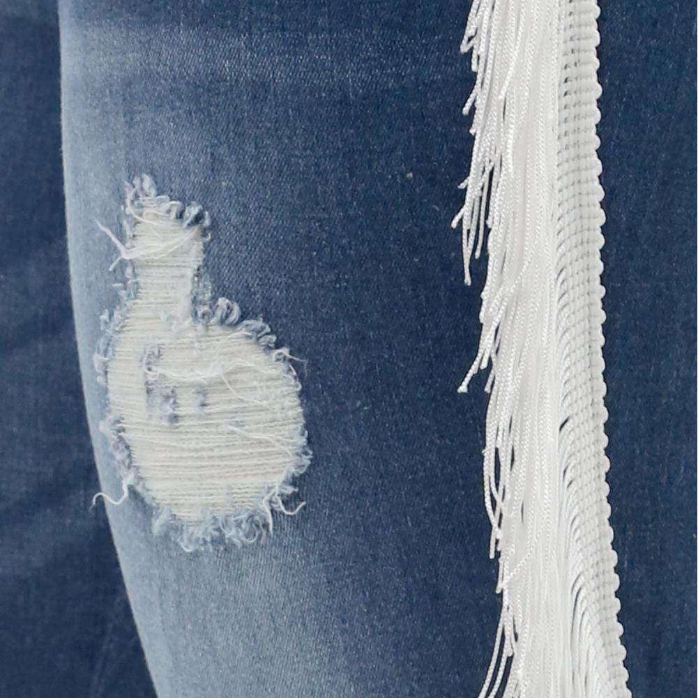 Plus Size Side Fringe Jeans, White Fringe
