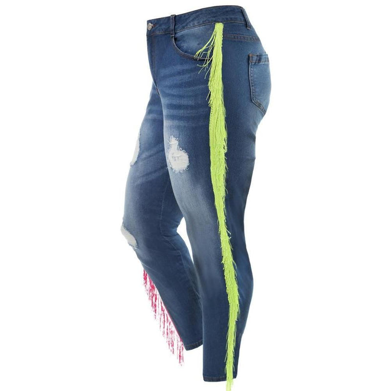 Posh Shoppe: Plus Size Side Fringe Jeans, Neon Fringe Bottoms